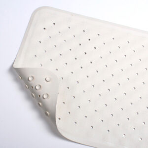Rubber Bath Mat with anti-fungal coating - anti-slip safety soft white